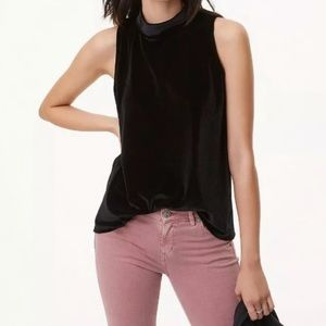 LOFT Black Mock Neck Swing Velvet Top Sleeveless L